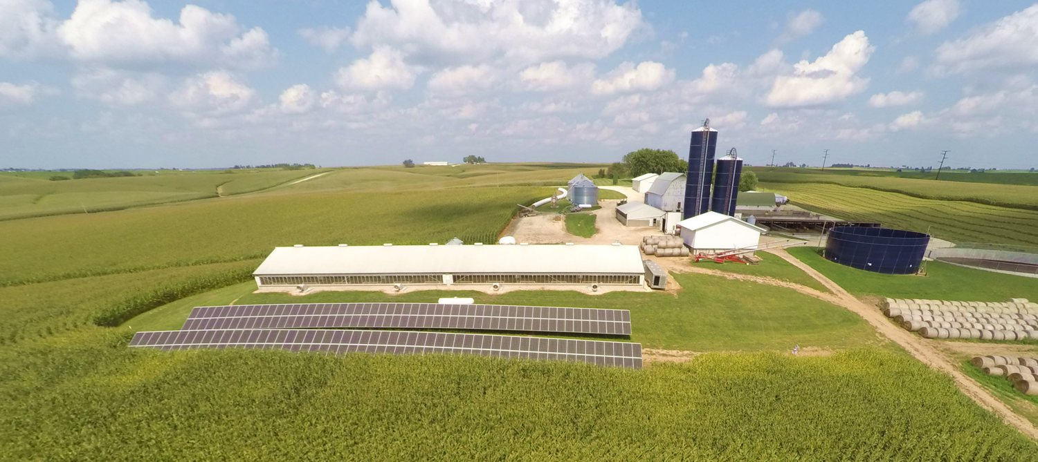 Photo of agriculture aerial view ground mounted solar array