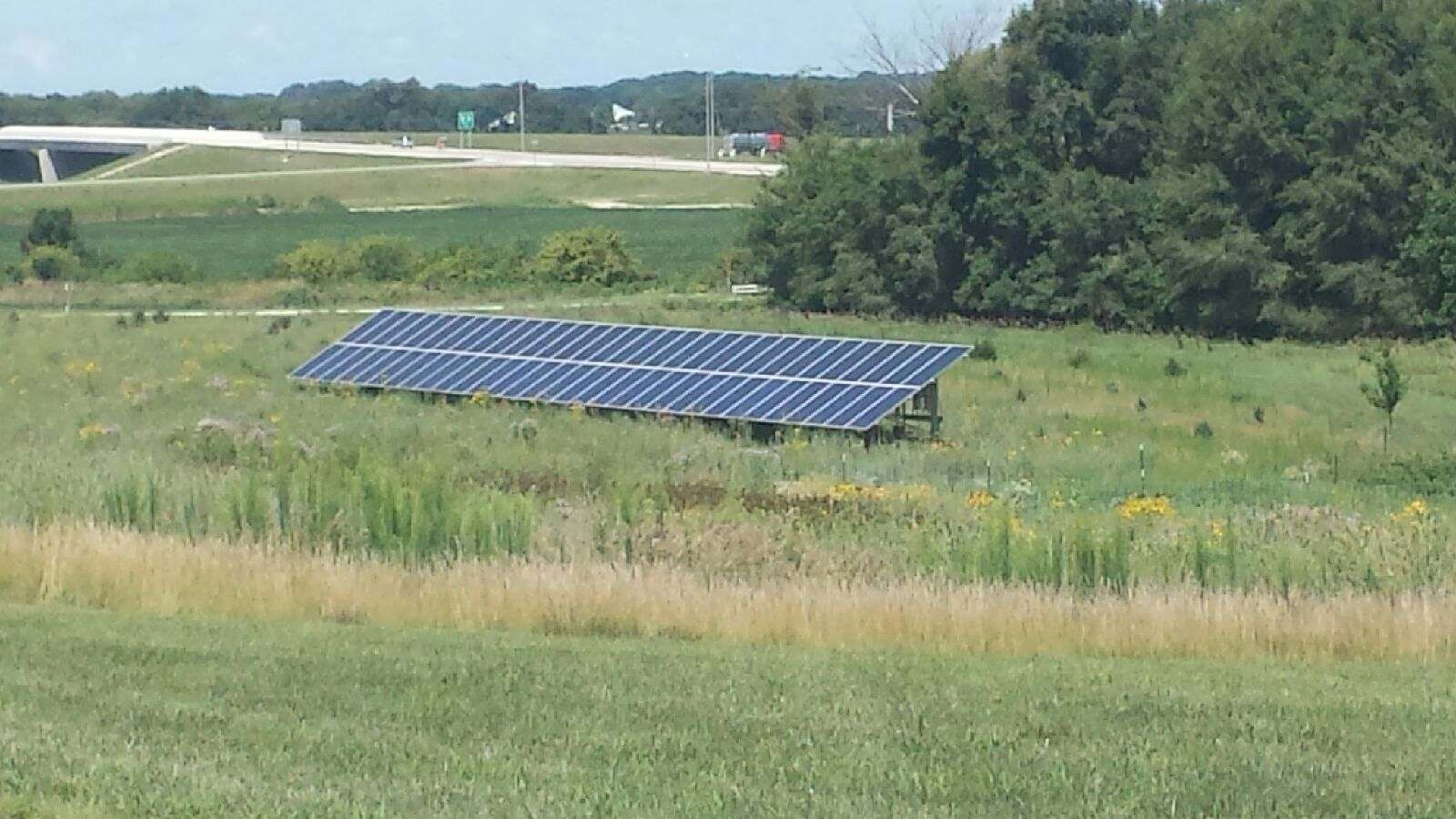 Photo of residential ground mounted solar array
