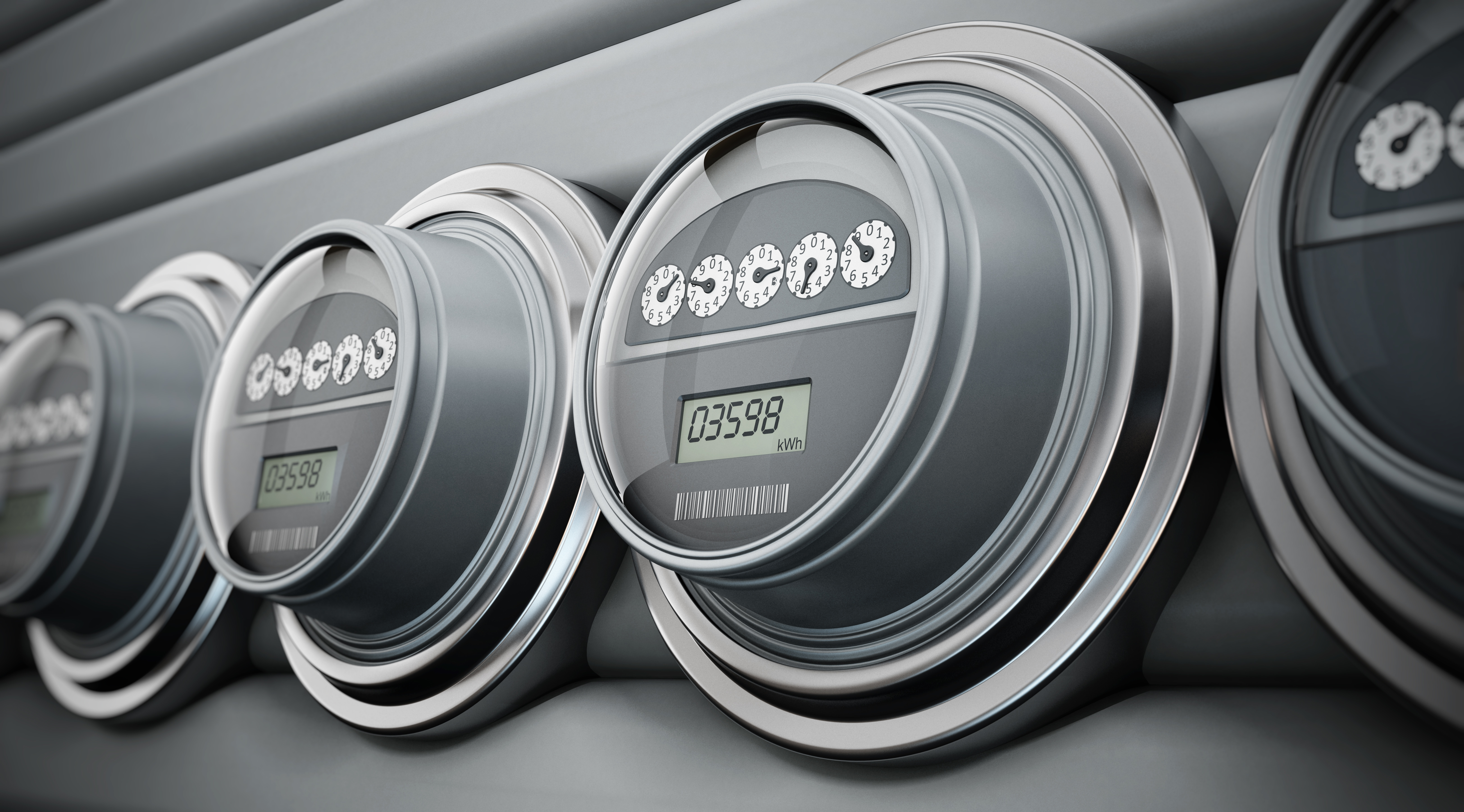 Photo of electric meters in a row