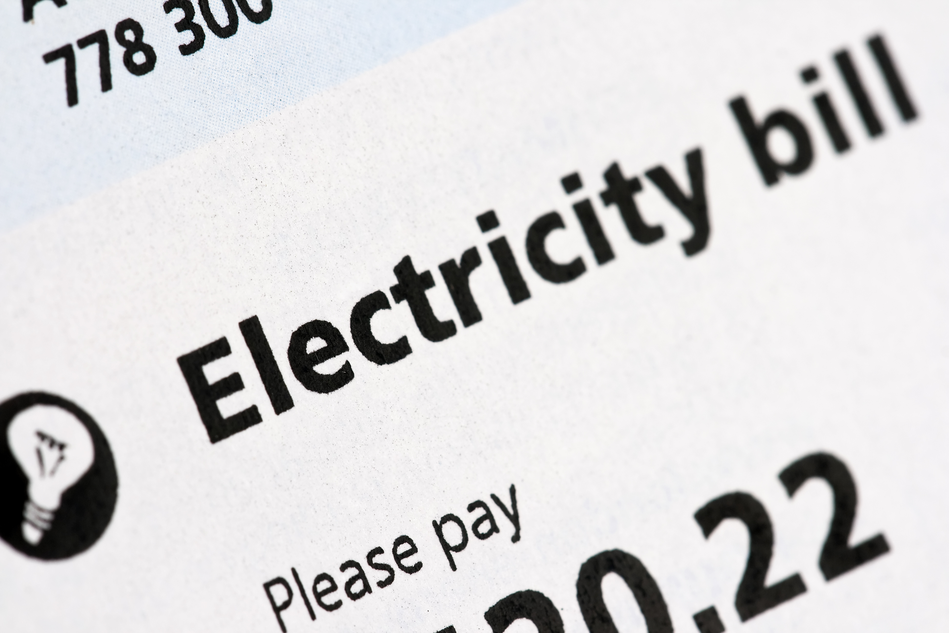 Close-up photo the words electricity Bill