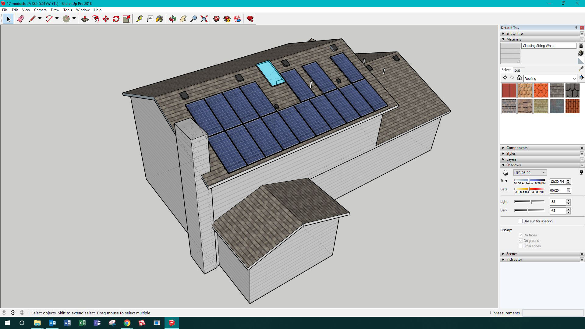 Graphic of a sketchup of a solar roof mounted array