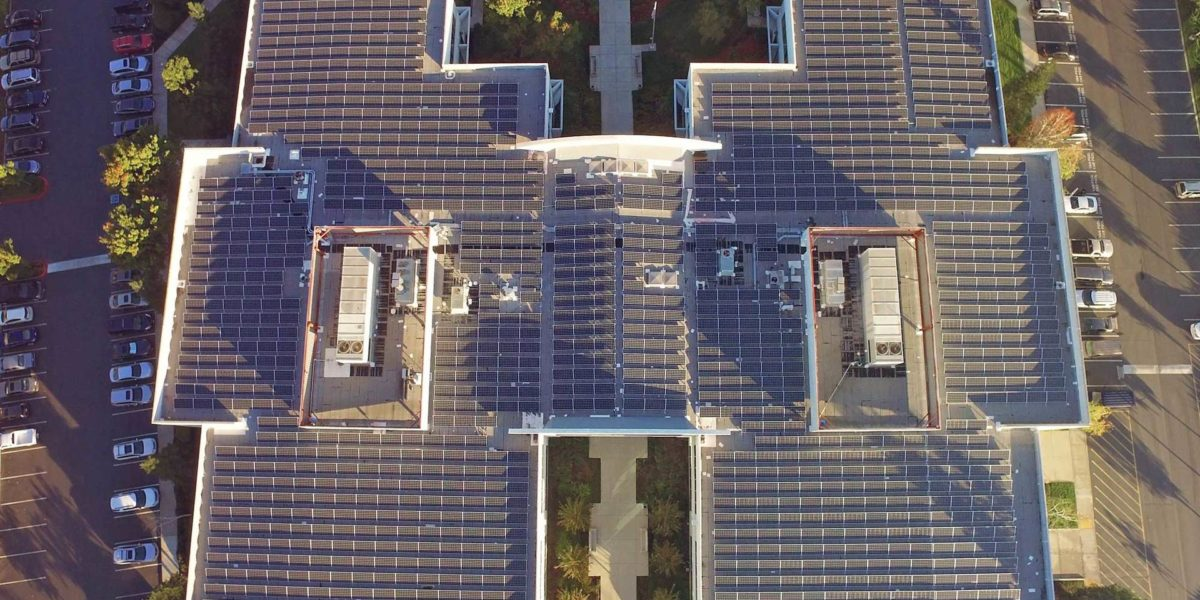 Aerial photo of large root mounted solar array