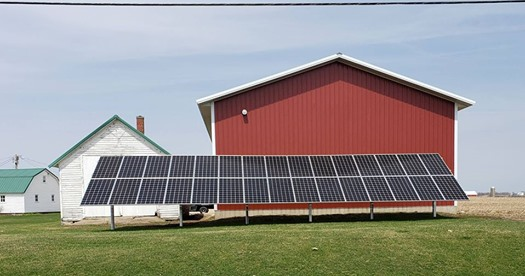 Photo of a ground mounted agricultural solar array