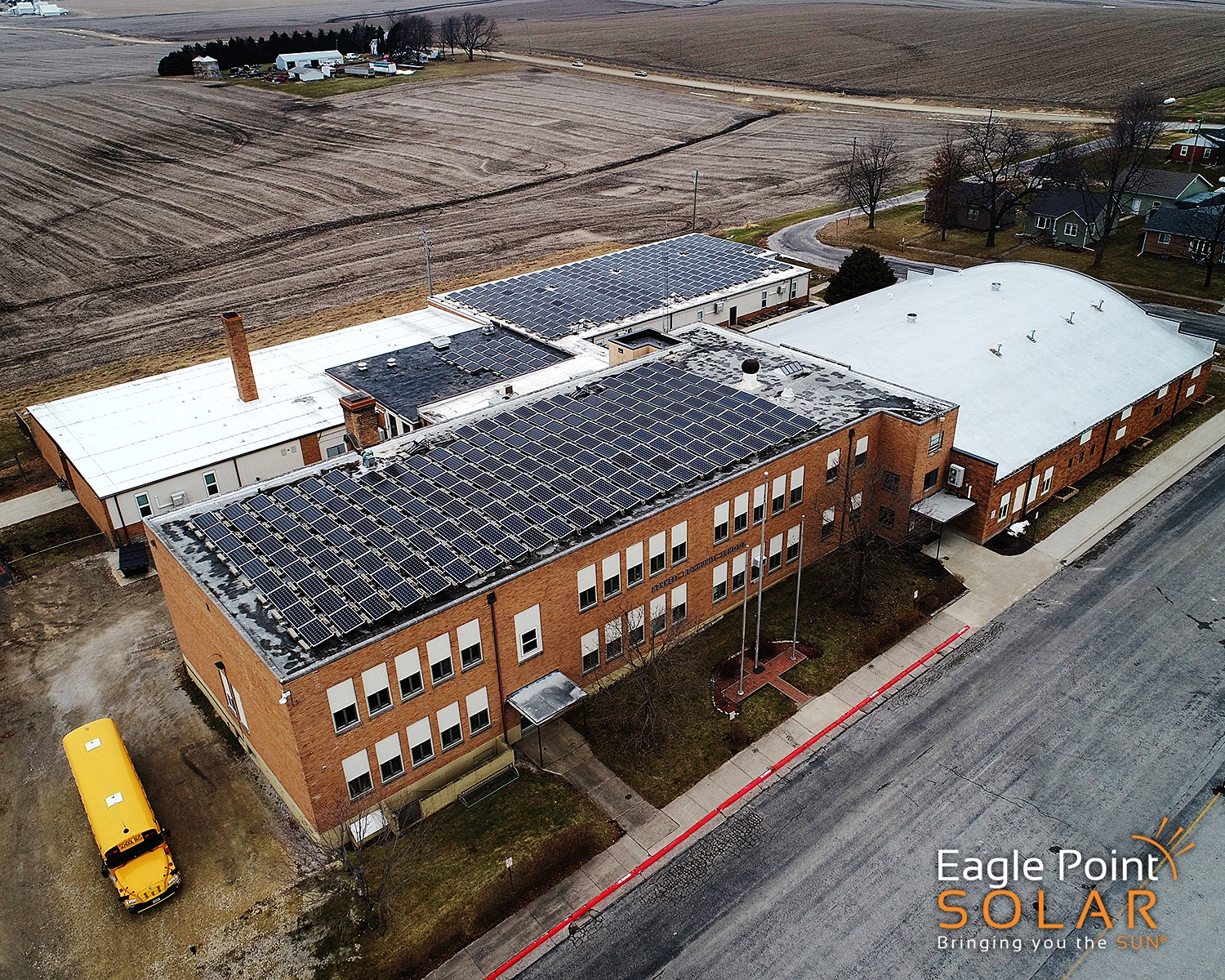 Photo of academic roof mounted solar array