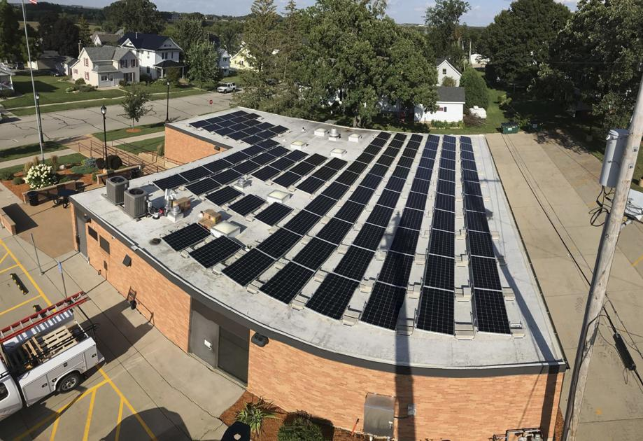 Photo of roof mounted solar array on Dyersville building