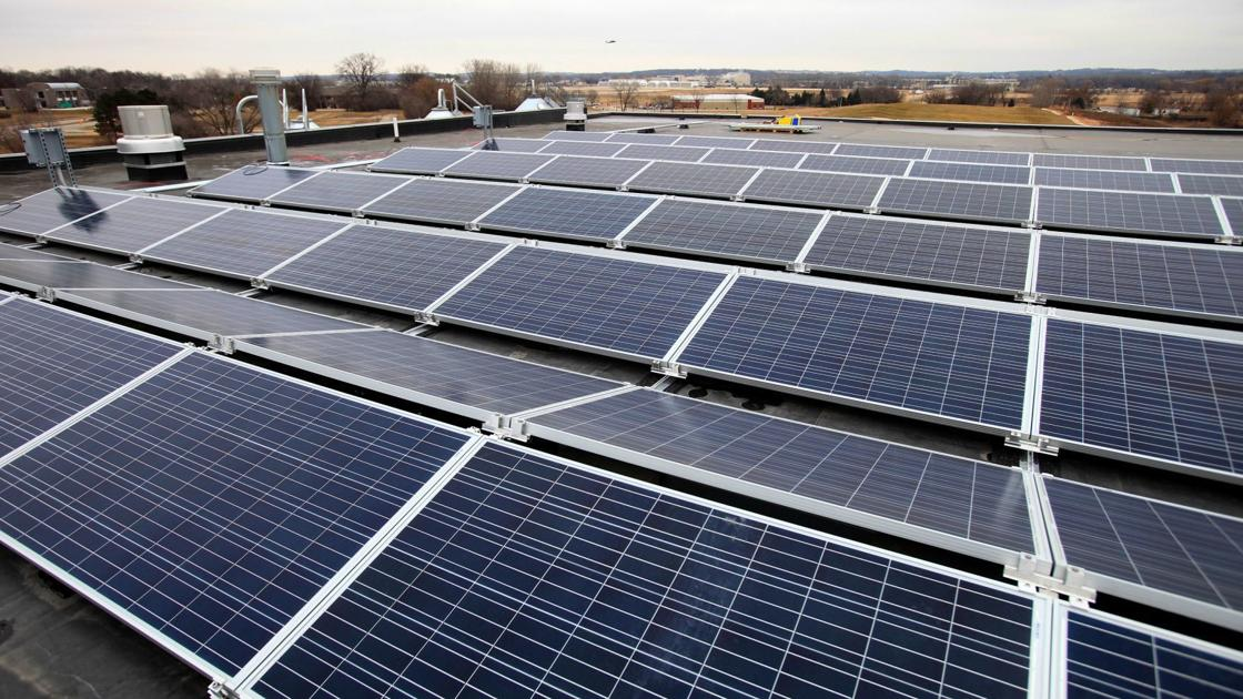 Photo of roof mounted solar array