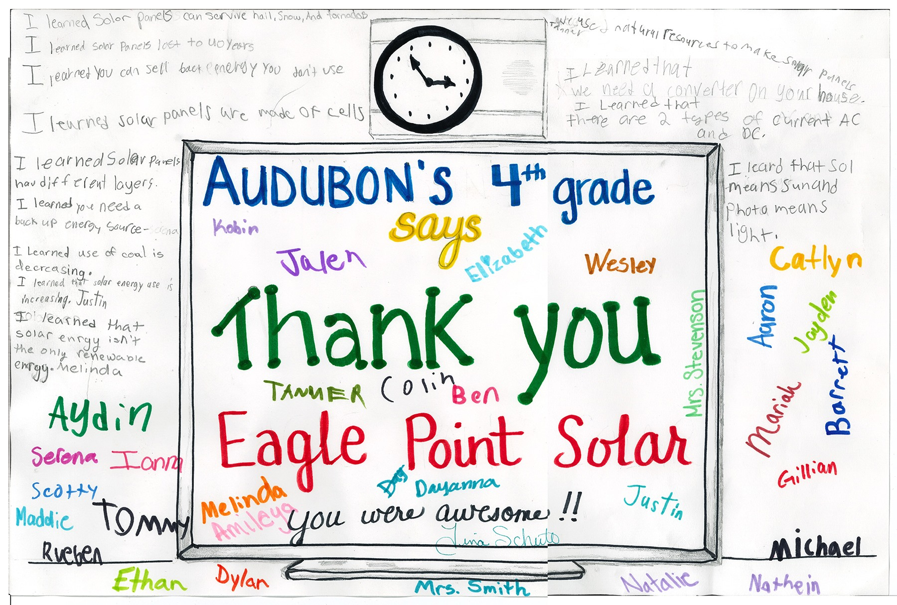 Photo of thank you from Audubon 4th grade students