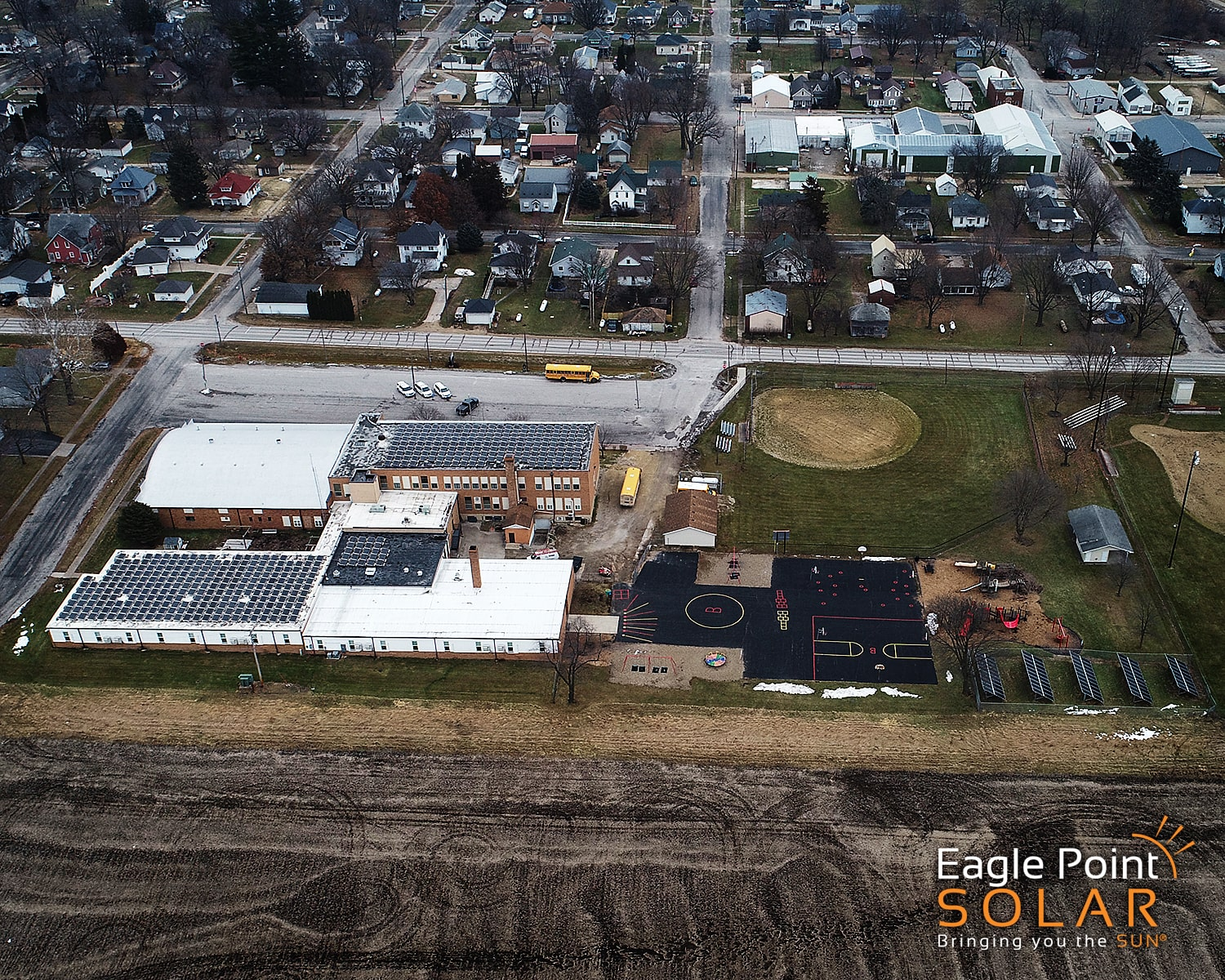 Far aerial solar array of Bennett School