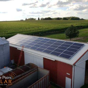 Photo of a roof mounted agricultural solar array