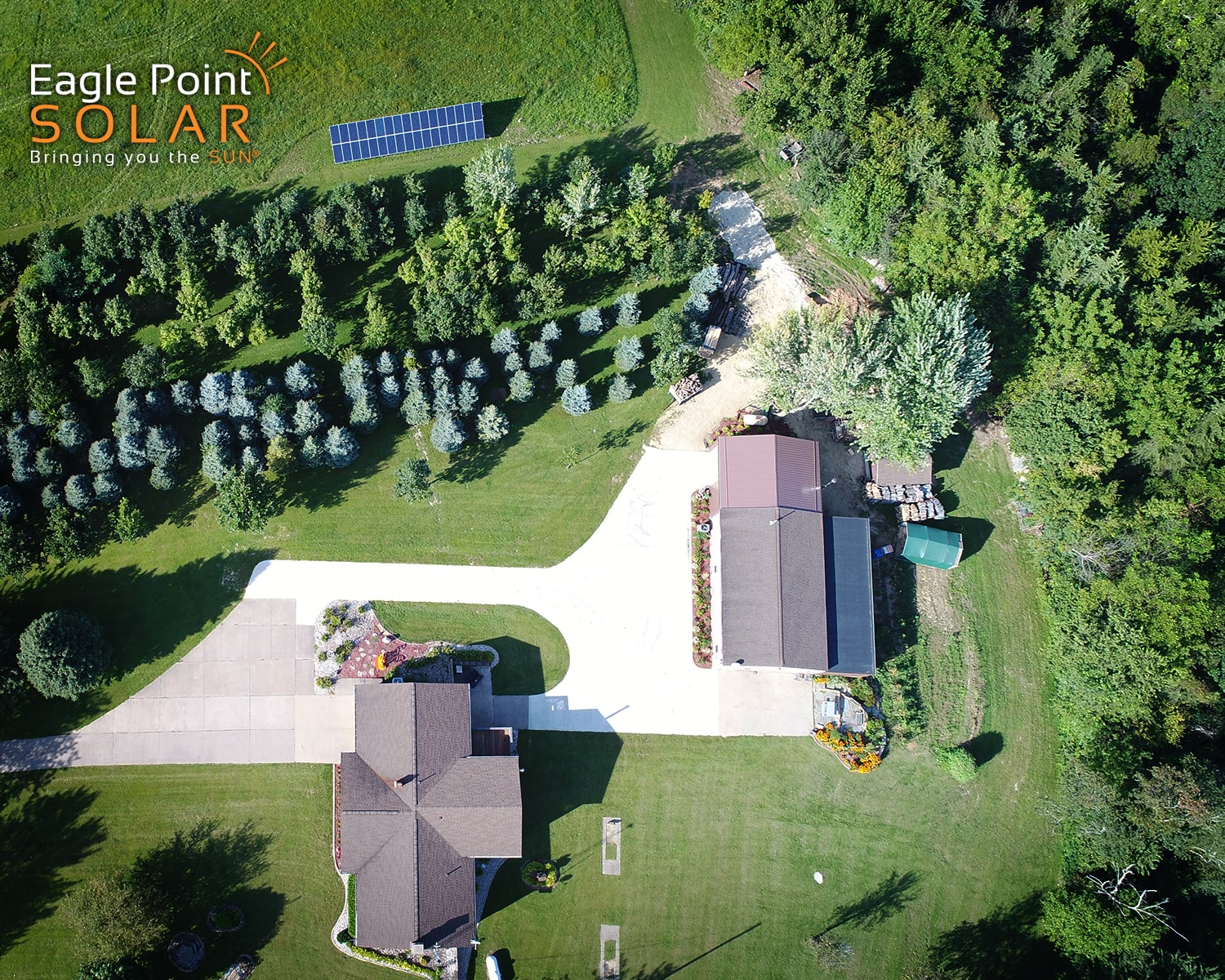 Overhead photo of Burkart residence ground mounted solar array