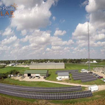 Photo of a ground mounted solar array for Cedar County