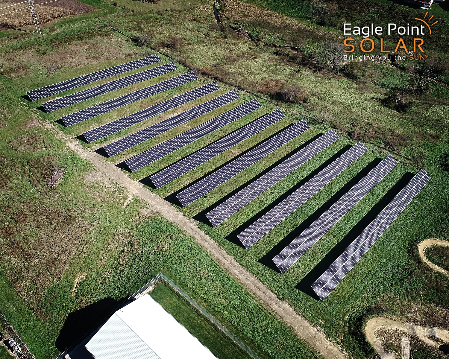 Photo of ground mounted solar array for the City of Asbury