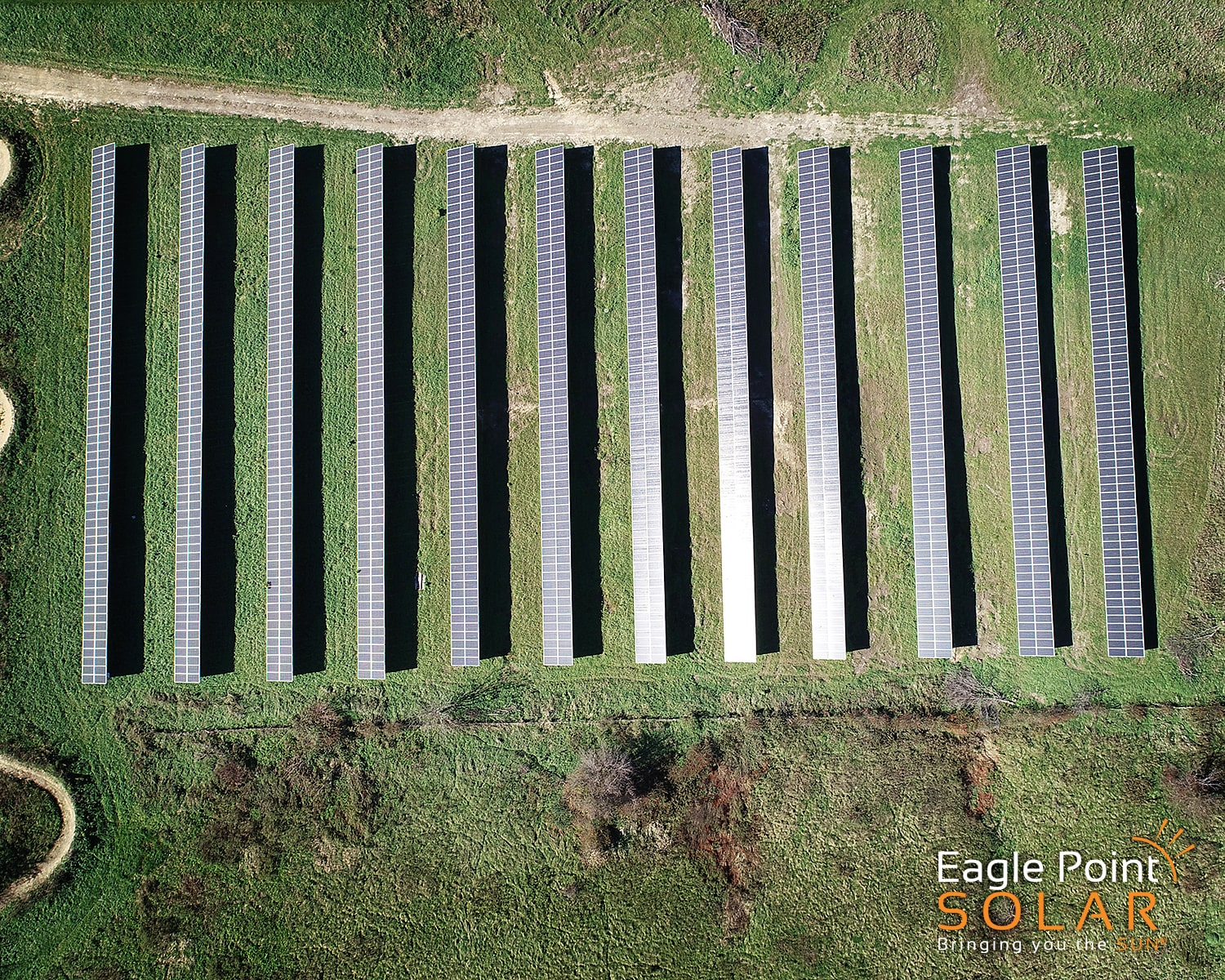 Overhead photo of ground mounted solar array for the City of Asbury