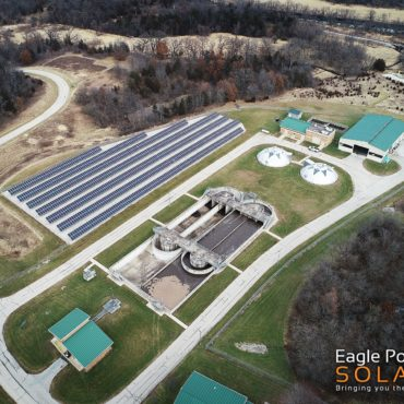 Aerial photo of City of Galena ground mounted solar array
