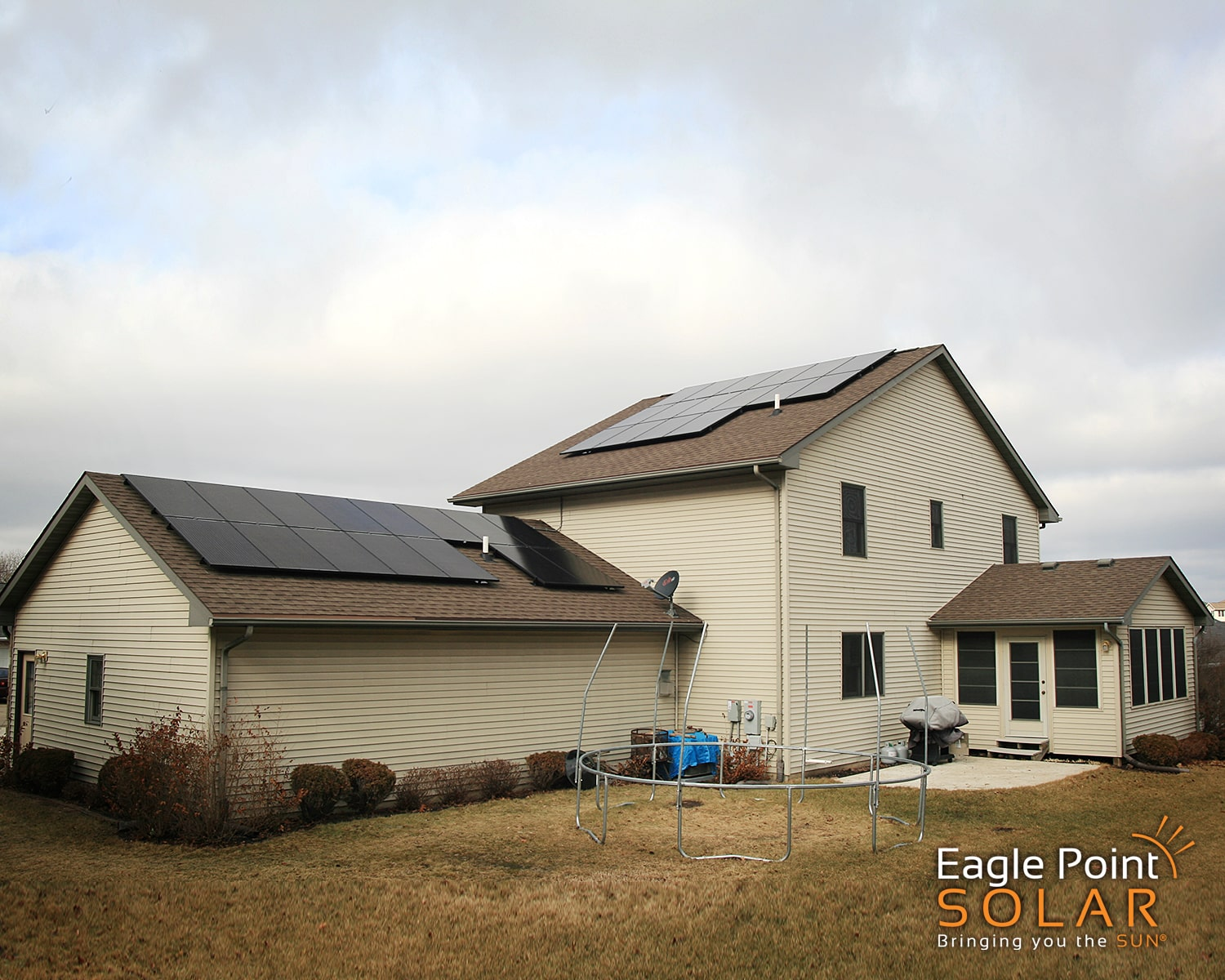 Photo of residential roof mounted solar array on Coleman house