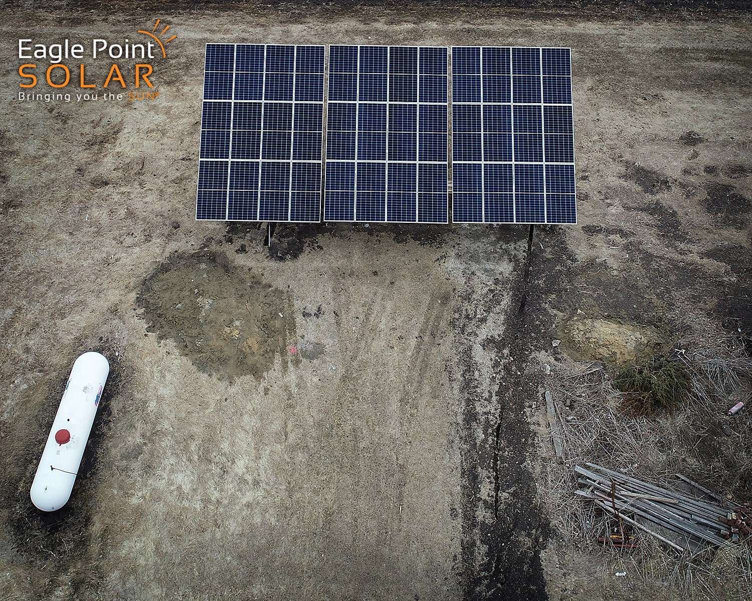 Close up photo of a ground mounted solar array