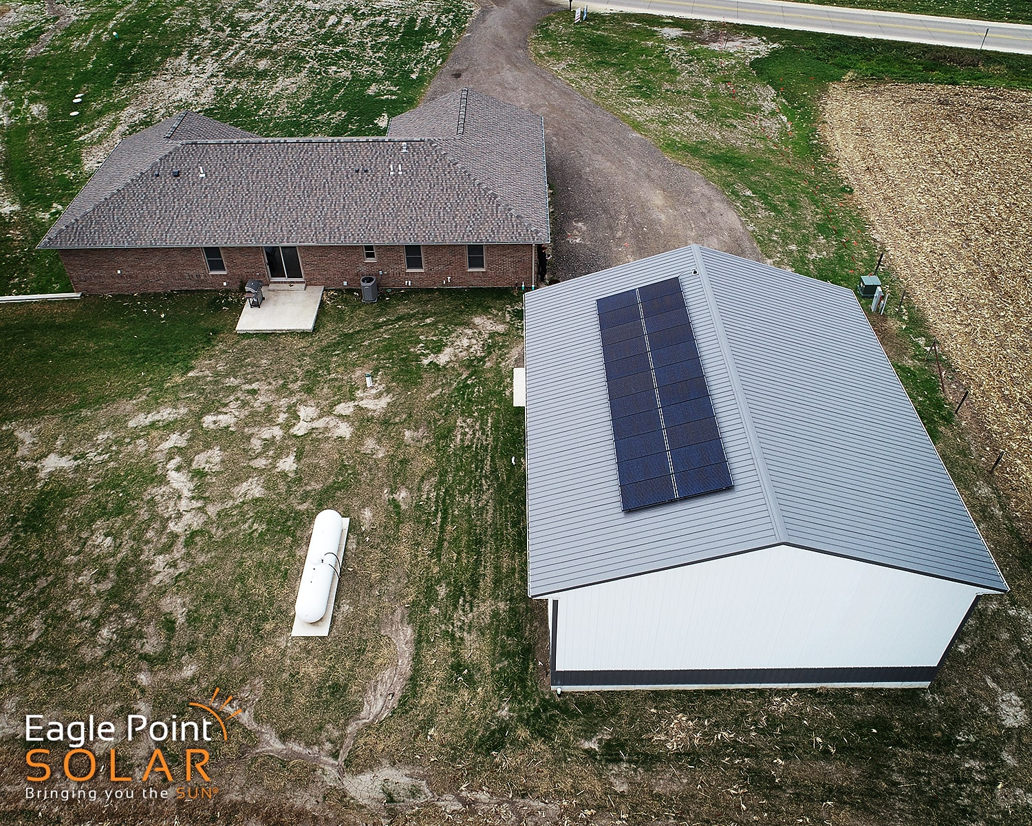 Overhead photo of Donovan residence roof mounted solar array