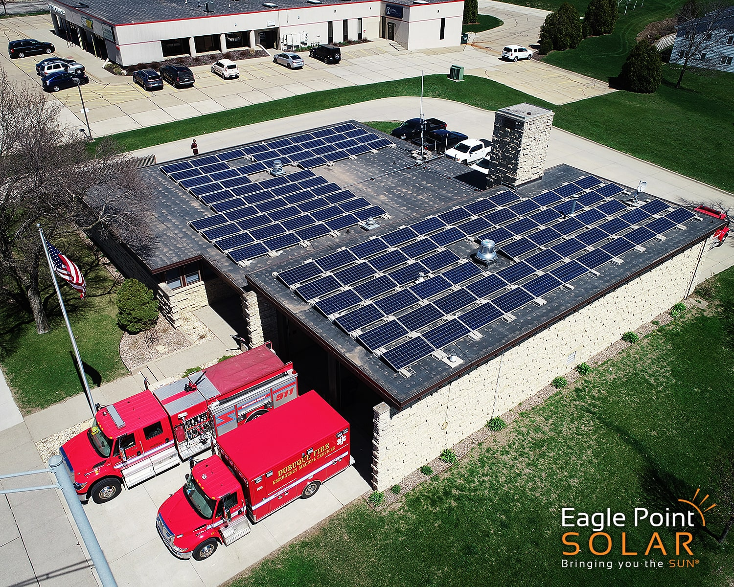 Photo of roof mounted solar array for Dubuque Fire Station