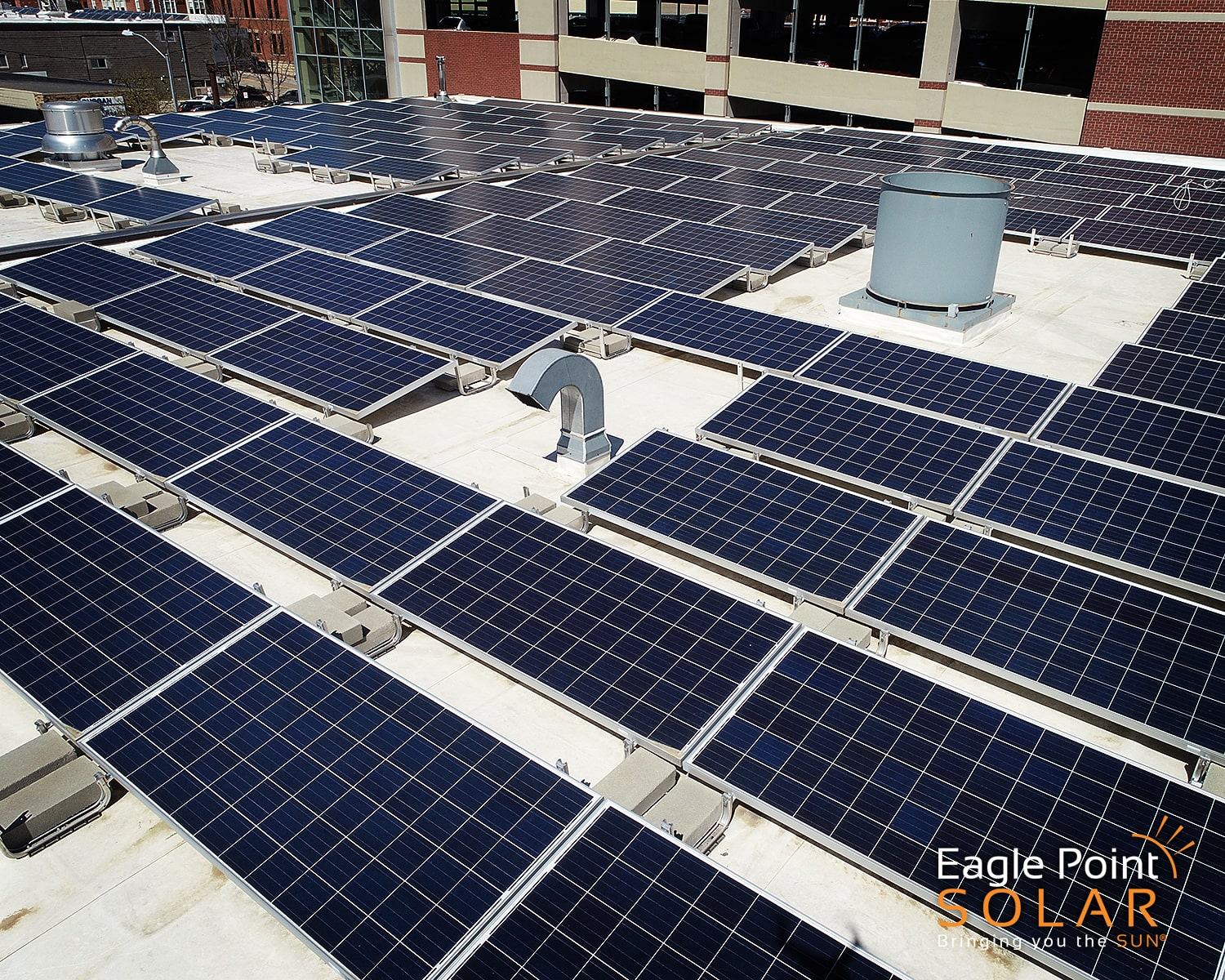 Close up photo of roof mounted solar array for Dubuque Fire Station