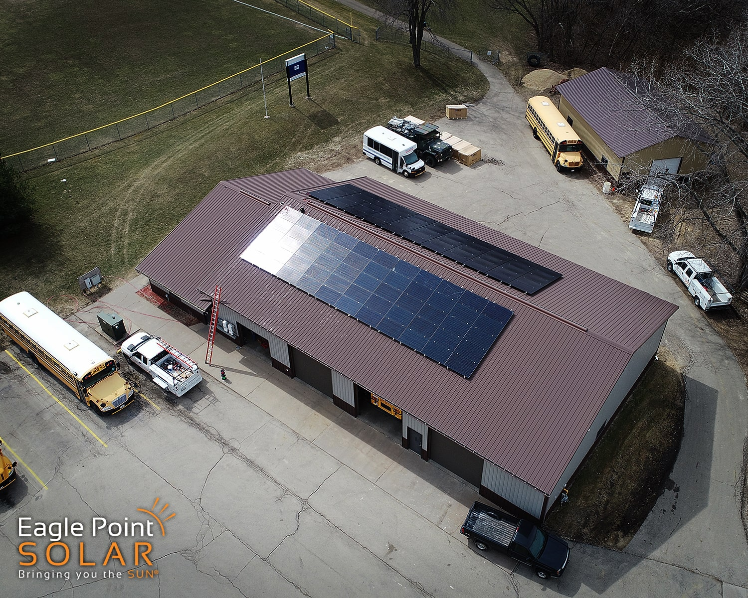 Overhead roof mounted solar array on East Dubuque bus garage