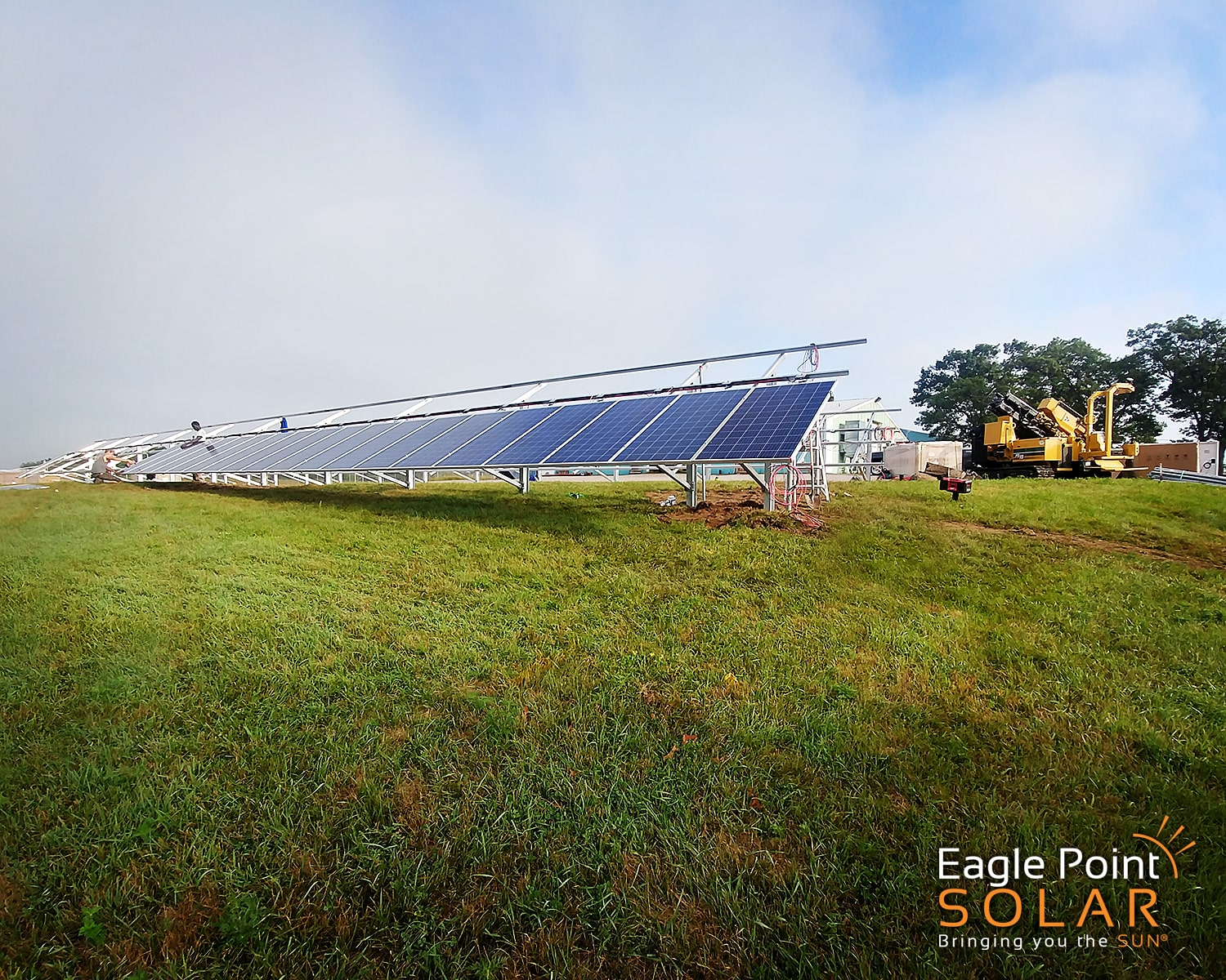 Photo of ground solar being built