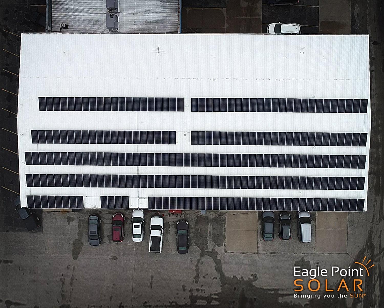Overhead photo of roof mounted solar array of Essig Motors