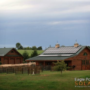 Photo of a roof mounted solar array on Johns Farm