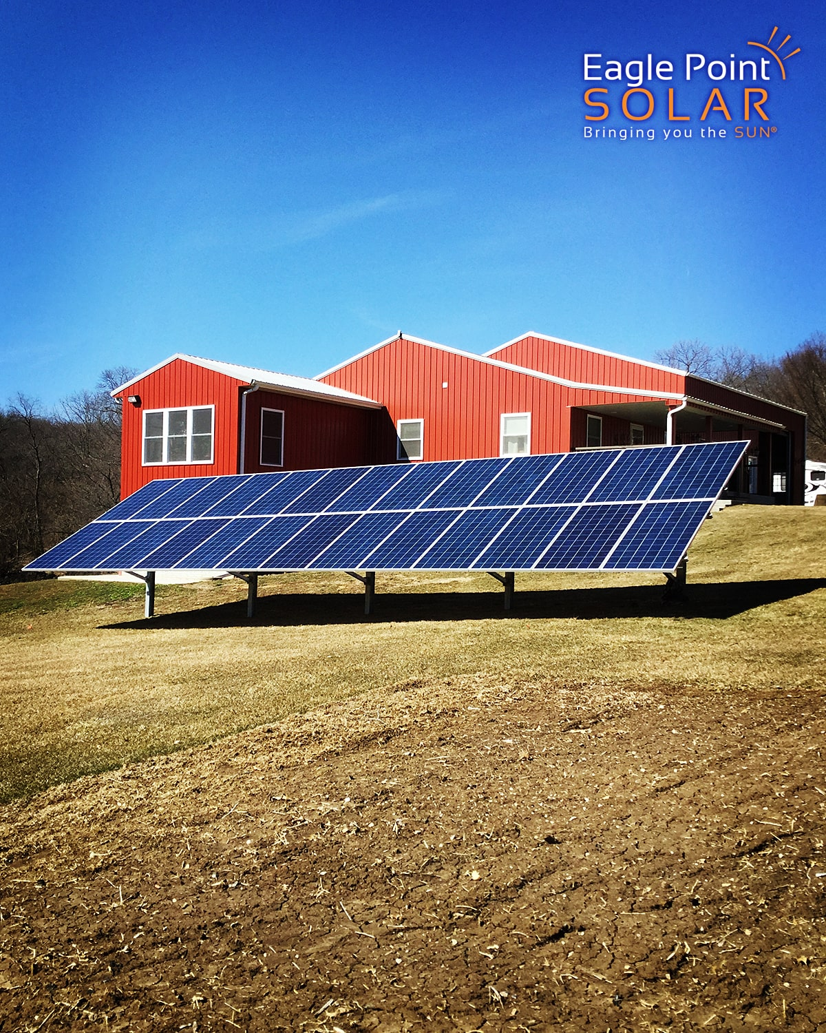 Photo of an agricultural ground mounted solar array