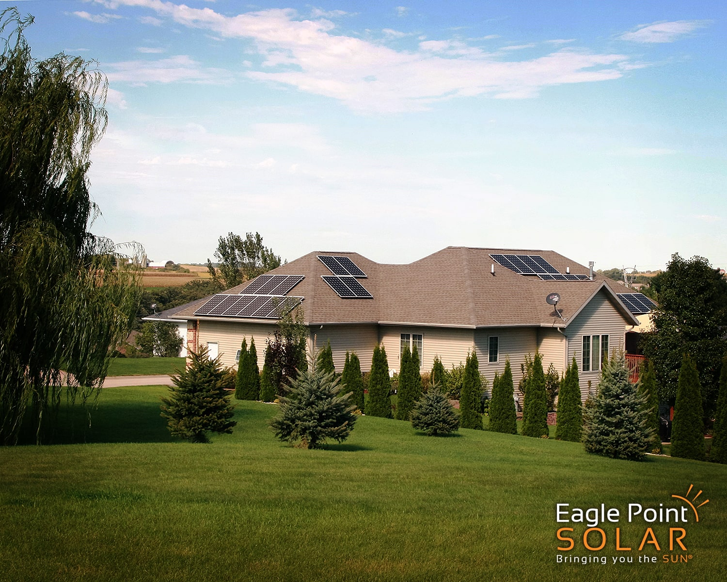Photo of residential roof mounted solar array Loney