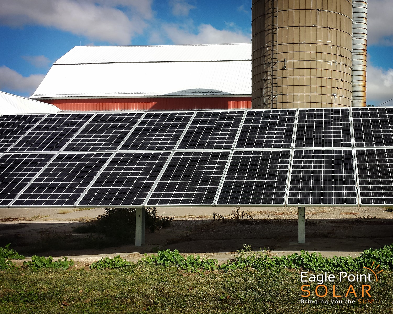 Close up photo of an agricultural ground mounted solar array