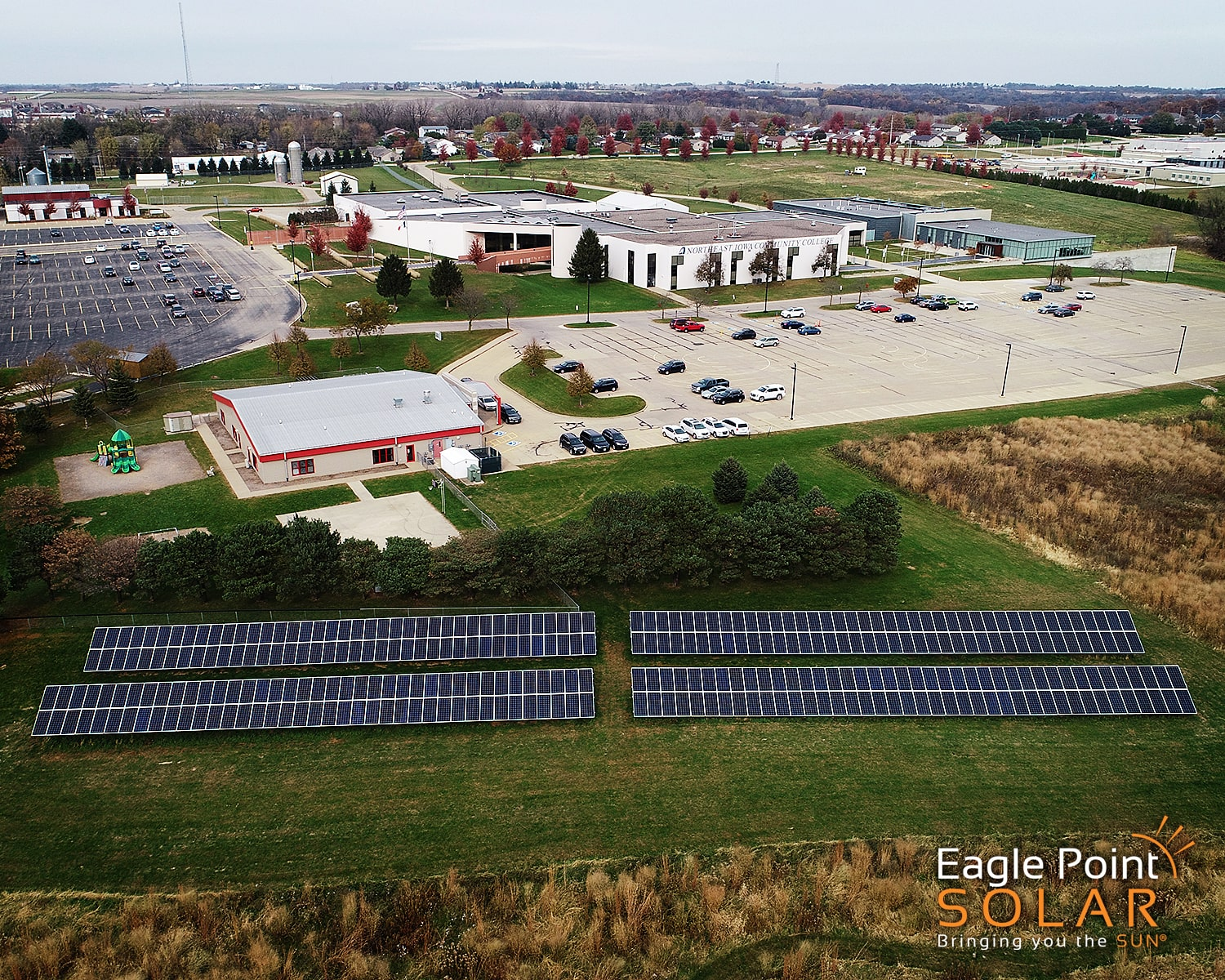 Photo of academic ground mounted solar array