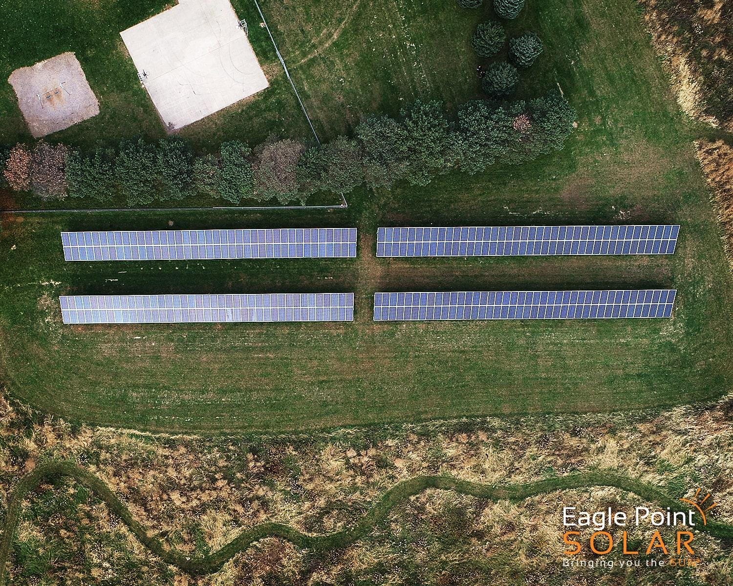 Overhead photo of a academic ground mounted solar array