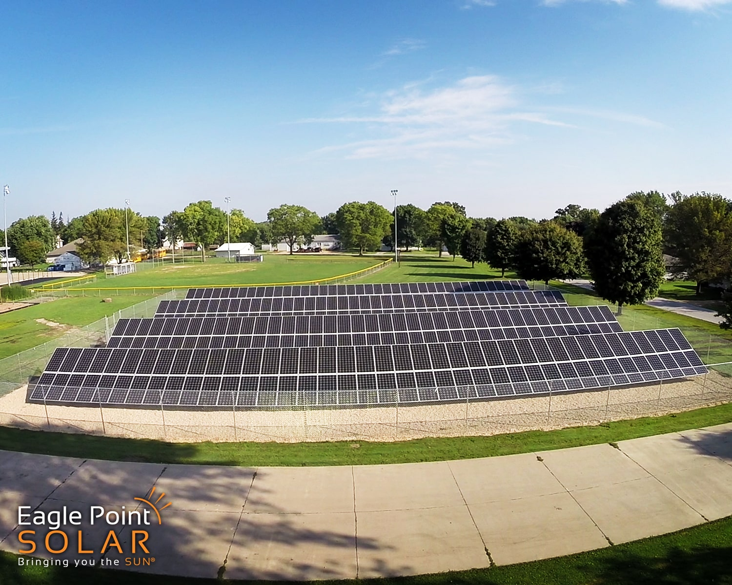 Photo of ground mounted academic solar array