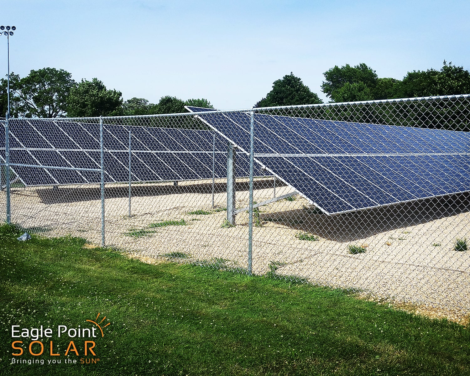 Photo of a ground mounted solar array in Olin