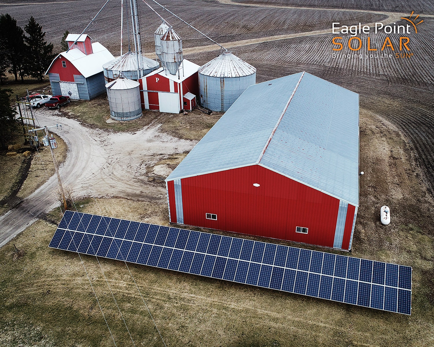 Photo of a ground mounted solar array on Perkins Farm