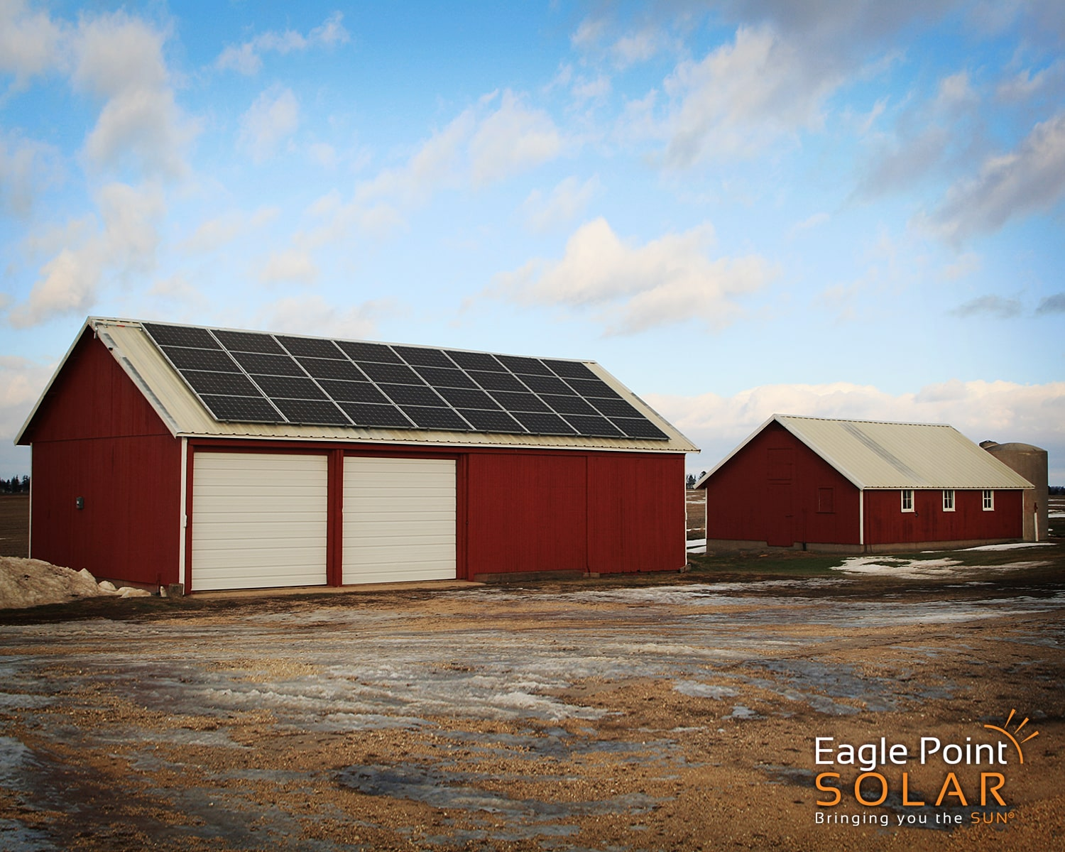 Photo of a roof mounted solar array on Rickels Farm