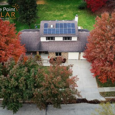 Overhead photo of residential roof mounted solar array Schmitt