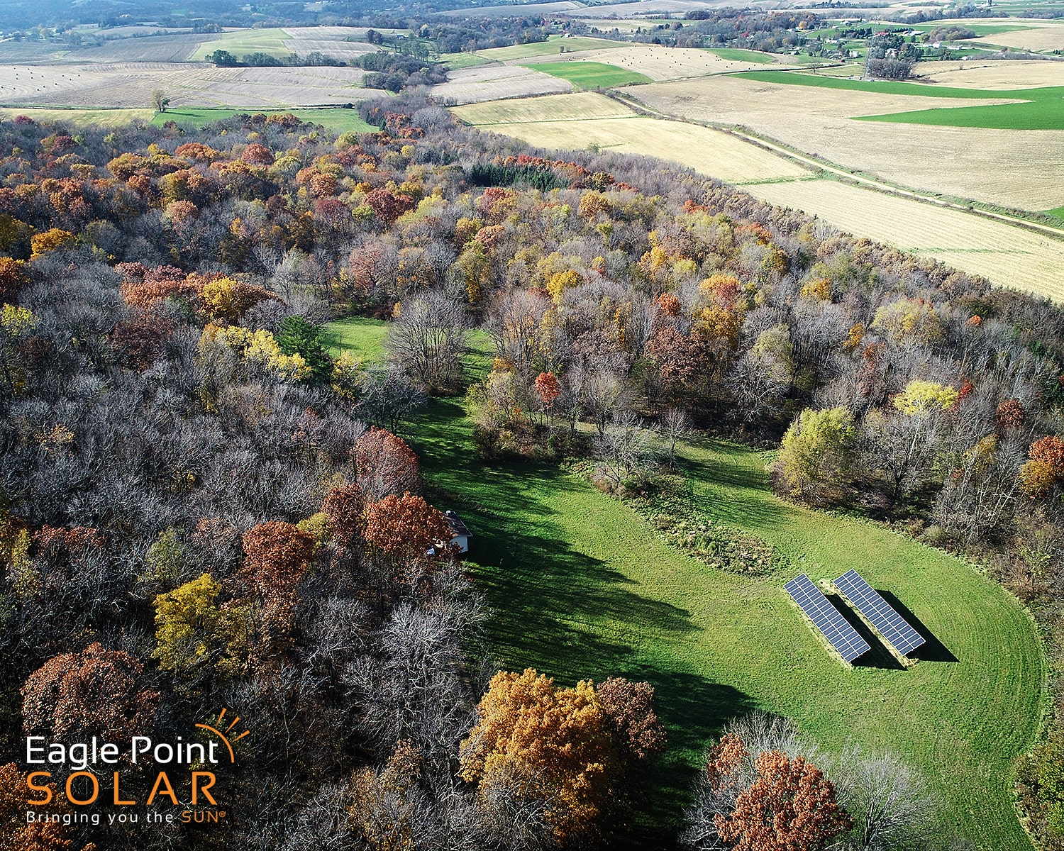 Overhead photo of Sinsinawa ground mounted solar array
