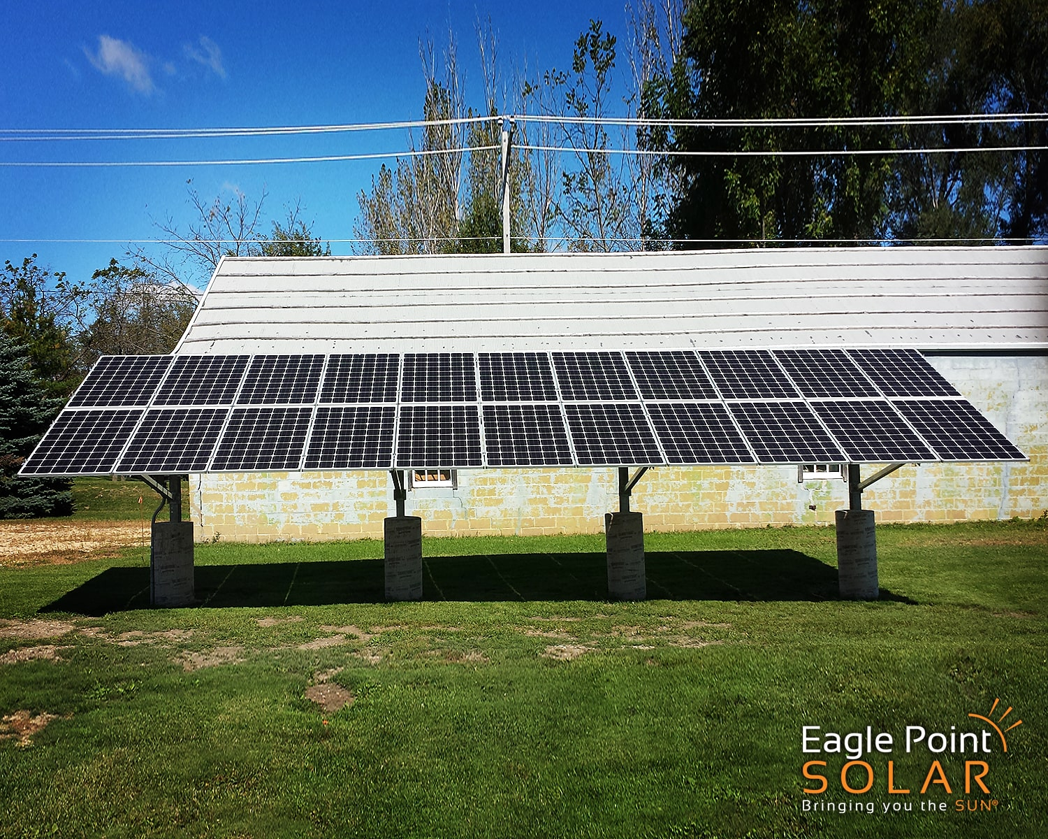 Photo of ground mounted solar array for Urbain Welding