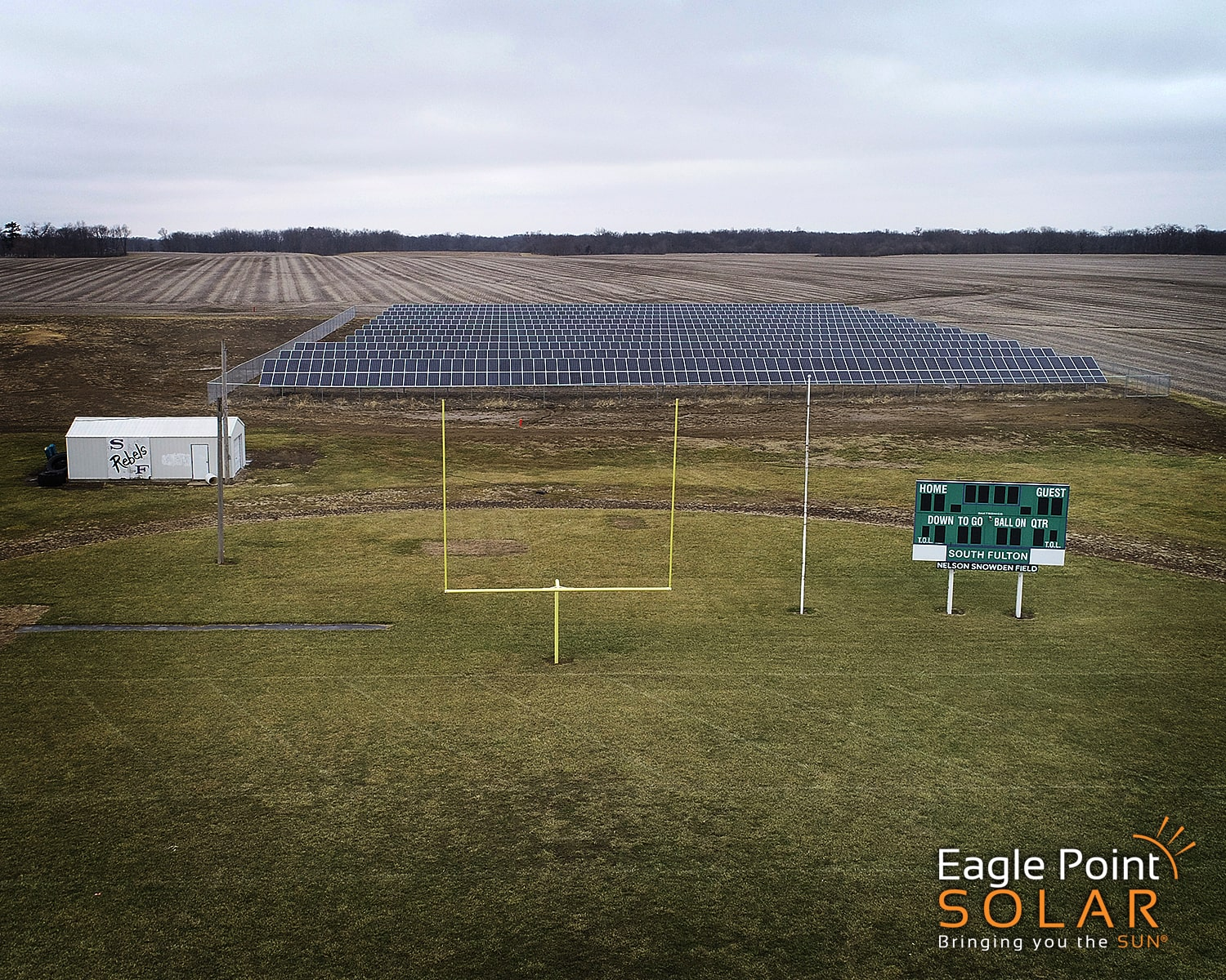 Photo of a ground mounted academic solar array