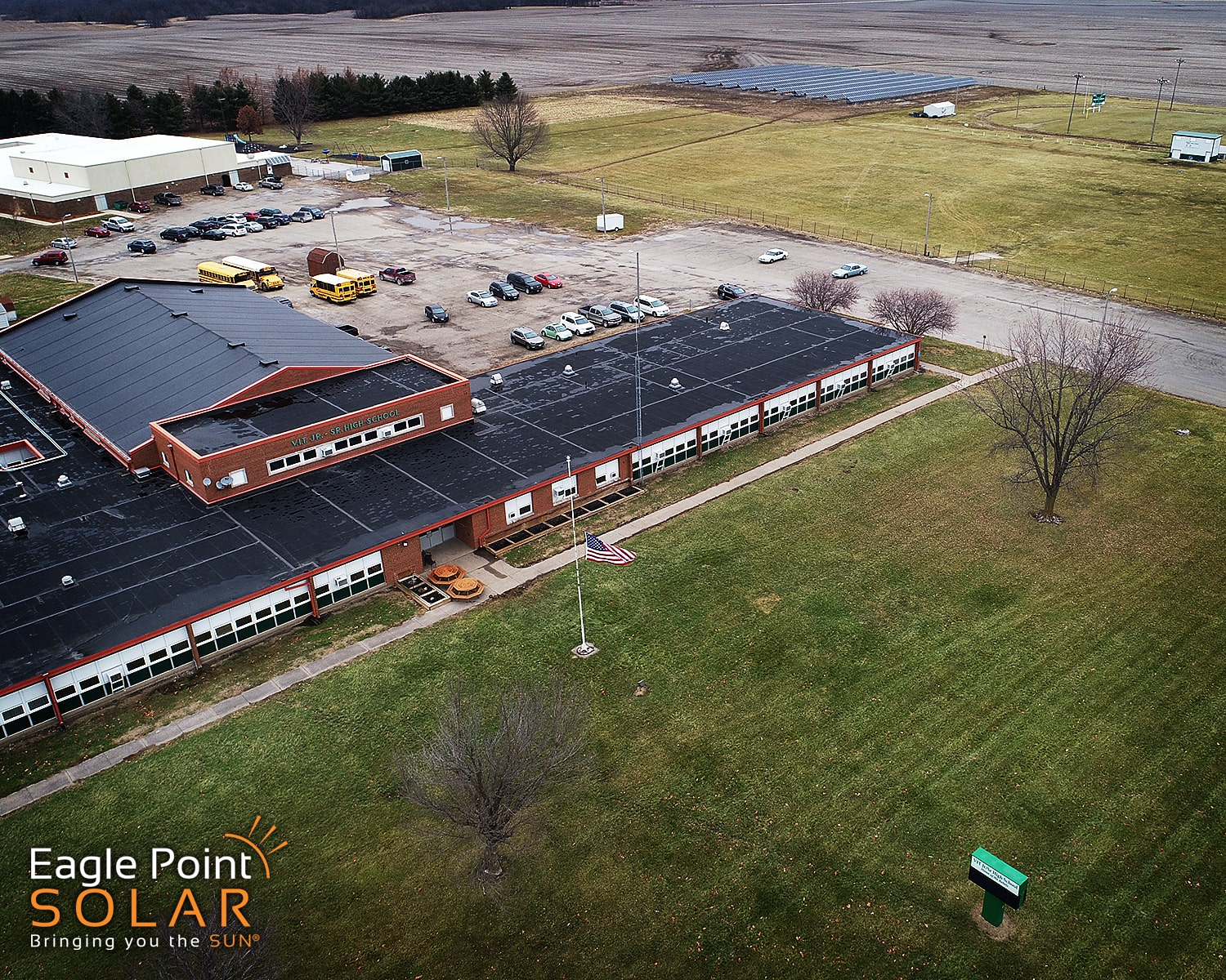 Photo of ground mounted solar array at a school