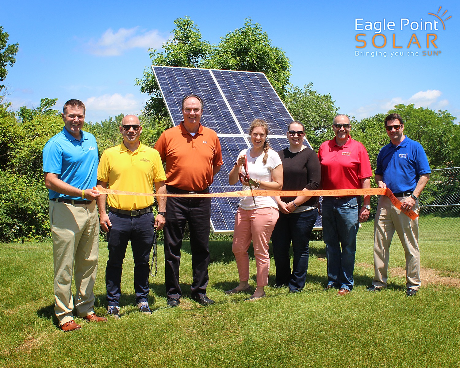 Photo of Whalert solar array ribbon cutting