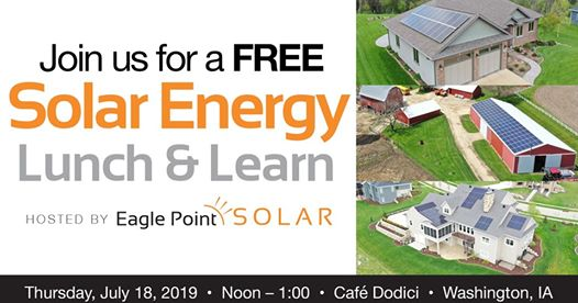 Graphic for a solar energy Lunch & Learn in Washington, IA