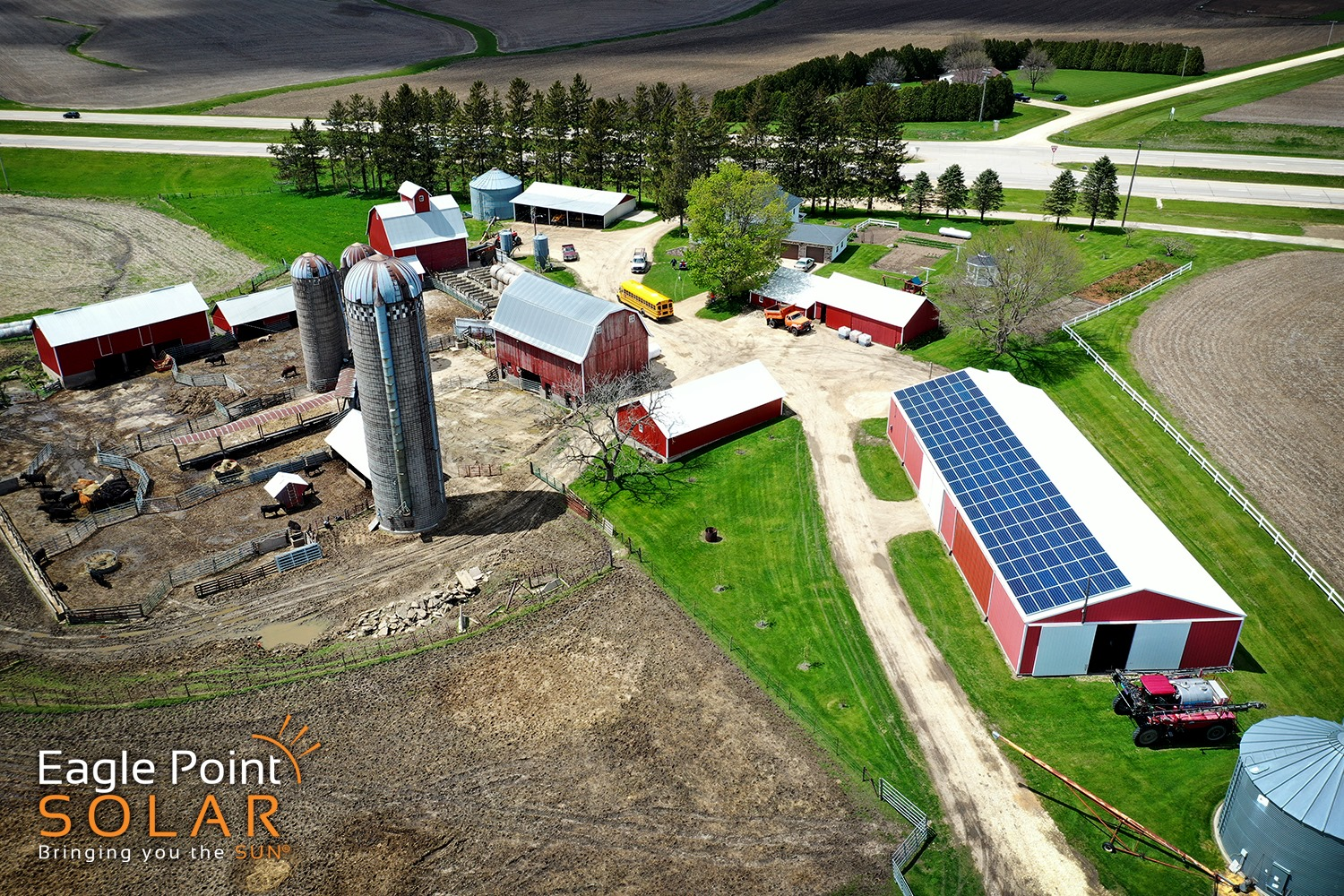Photo of agricultural roof mounted solar array