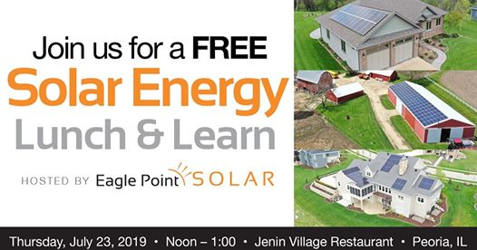 Graphic for solar energy lunch and learn in Peoria, IL