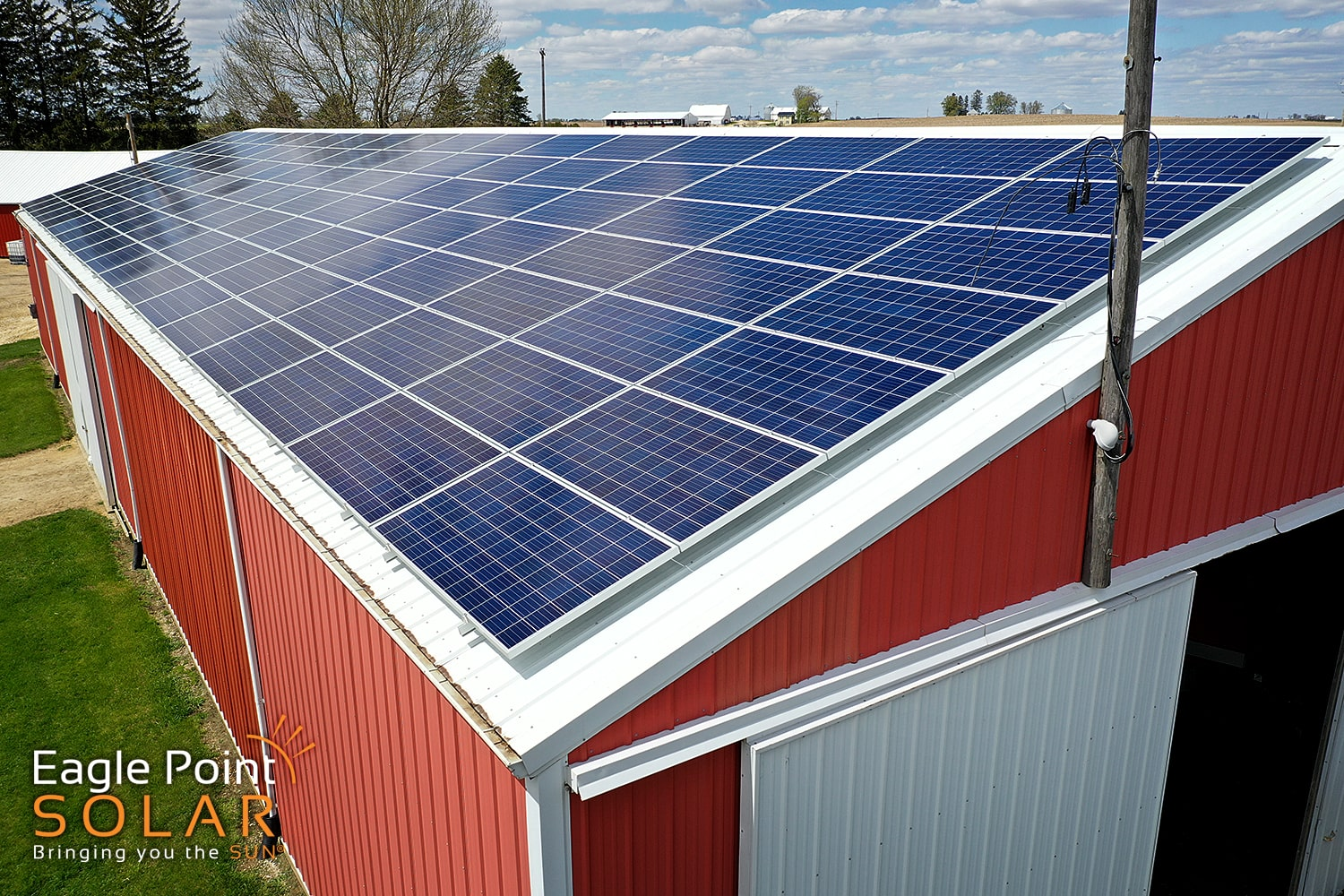 Photo of a agricultural roof mounted solar array