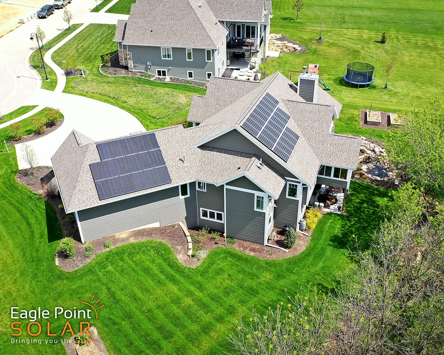 Photo of a residential roof mounted solar array