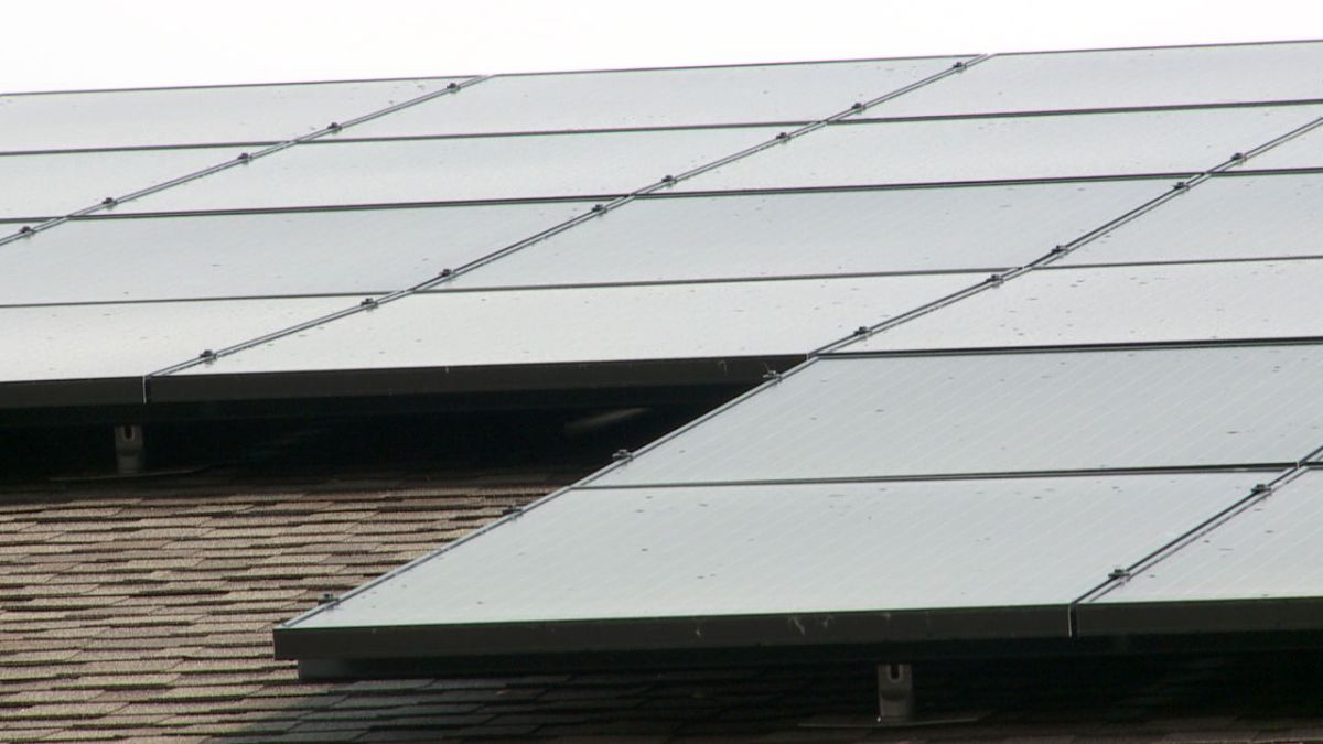 Close up photo of roof mounted solar array