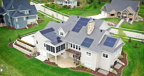 Photo of residential roof solar array