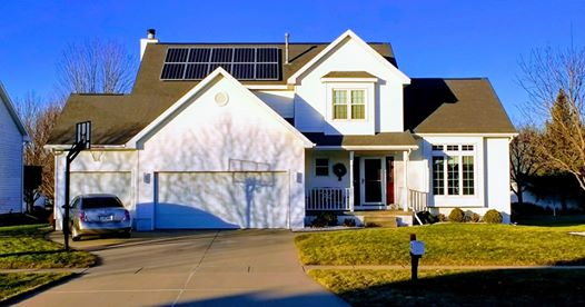 Photo of residential roof mounted solar array